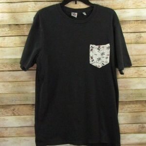 Junk Food Black Tee with Mickey Mouse Pocket M